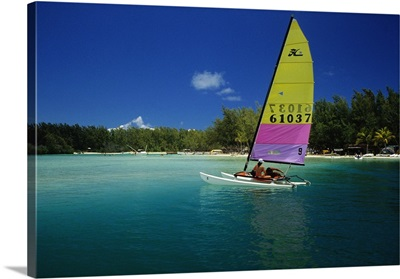 Africa, Mauritius, Tropics, Ile aux Cerfs, catamaran sailing