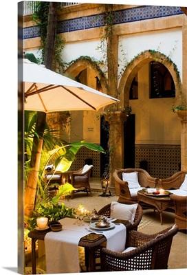 Africa, Morocco, Essaouira, Heure Bleue Palais Hotel, courtyard
