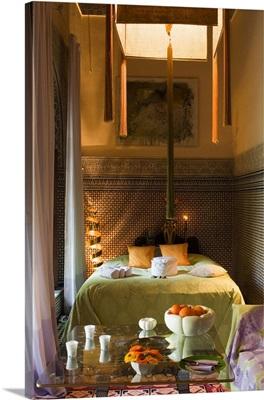 Africa, Morocco, Marrakech, Riad Enija Hotel, bedroom
