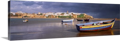 Africa, Morocco, Rabat, Bou Regreg river, view to Kasbah of the Oudayas