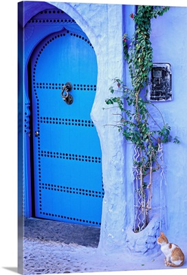 Africa, Morocco, Rif Mountains, Chefchaouen town, a door