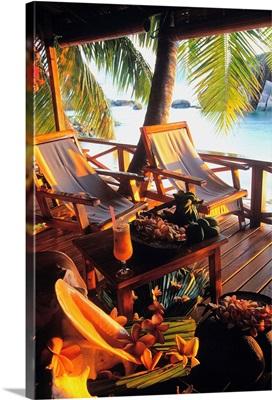 Africa, Seychelles, Praslin, Les Rochers, verandah
