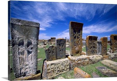 Armenia, Noraduz, the cemetery, typical Khachkars (stone crosses)