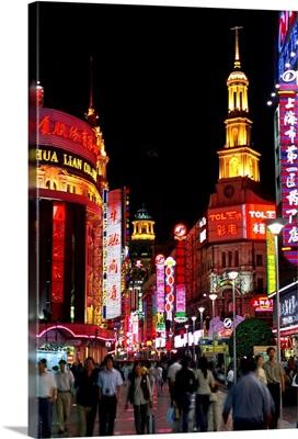Asia, China, Shanghai, Nanjing Lu, a famous shopping street