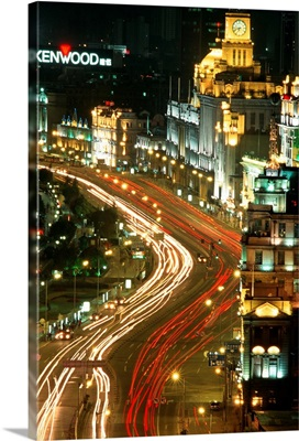 Asia, China, Shanghai, The Bund, the main street with old colonial buildings
