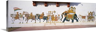 Asia, India, Rajasthan, Rohat, village near Jodhpur, paintings in the palace