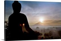 Asia, Indonesia, Buddhist temple of Borobudur, view towards Merapi volcano