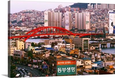 Asia, Korea, South Korea, Pusan, Pusan (Busan) town, view from Phoenix Hotel