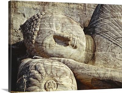 Asia, Sri Lanka, Polonnaruwa, Gal Vihara temple, reclining Buddha