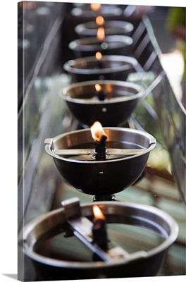 Asia, Thailand, Ayutthaya, Wat Yai Chai Mongkhon, ritual torches
