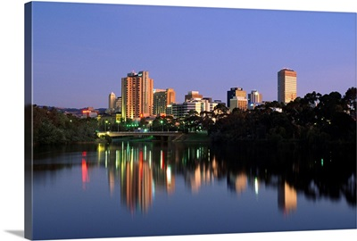 Australia, South Australia, Adelaide, View of the town from Torrens Lake