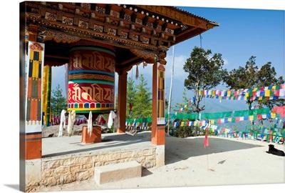 Bhutan, Paro, Prayer wheel on the path to the Tigers nest