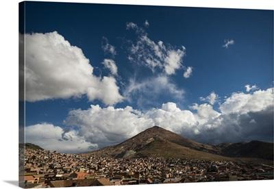 Bolivia, Potosi, City with Cerro Rico in the background