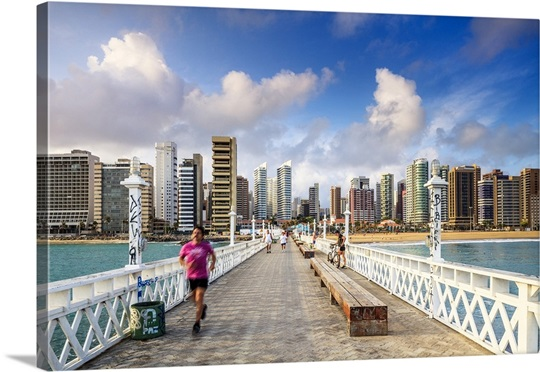 Brazil Ceara Fortaleza Iracema Beach Pier And City Skyline