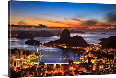 Brazil, Rio de Janeiro, Flamengo, Botafogo and Sugarloaf Mountain