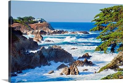 California, Monterey, Rugged coastline along Highway 1