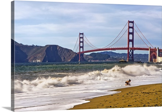 California San Francisco Baker Beach And Golden Gate Bridge In The Background