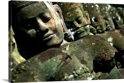 Cambodia, Angkor, Ancient statue in Angkor