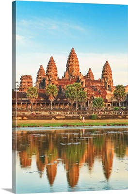 Cambodia, Siemreab, Angkor, Angkor Wat, The Famous Temple Reflecting In The Water