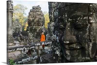 Cambodia, Siemreab, Angkor, Monk at the Bayan temple
