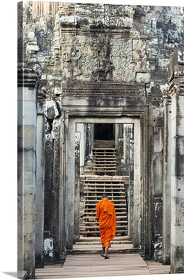 Cambodia, Siemreab, Angkor, Monk entering the Bayan Temple