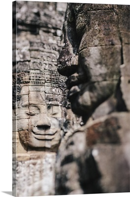 Cambodia, Siemreab, Angkor, Sculpted Buddha faces, Bayon Temple