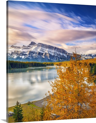 Canada, Alberta, Banff National Park, Rocky Mountains, Two Jack Lake and Mount Rundle