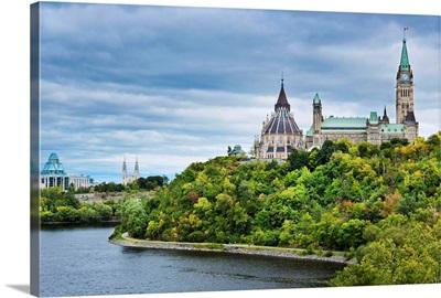 Canada, Ontario, Ottawa, Houses of Parliament on the Ottawa River