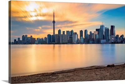 Canada, Ontario, Toronto, Skyline at sunset