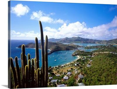 Caribbean, Antigua, Shirley Heights, view towards English harbor and Falmouth harbor