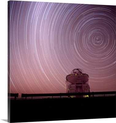 Chile, Atacama, Star Trails Above The European Southern Observatory