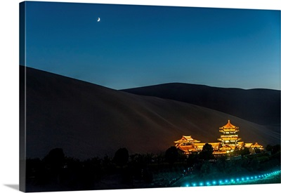 China, Gansu, Dunhuang, Crescent Lake And The Oasi Out Of The City Of Dunhuang By Night