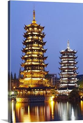 China, Guangxi, Guilin, Sun and Moon Pagodas on Shan Lake