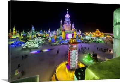 China, Heilongjiang, Harbin, Main Square of the Ice Park, Ice and Snow Festival 2013