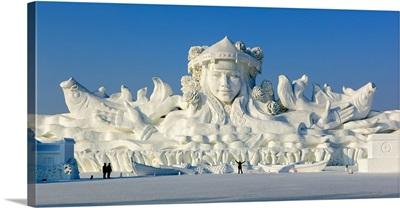 China, Heilongjiang, Harbin, Snow sculpture Happy Song in the Dream Ocean