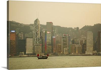 China, Hong Kong, Victoria Harbor, Junk boat