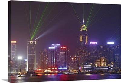 China, Hong Kong, Victoria Harbor, Laser show