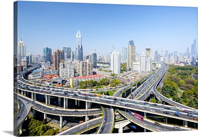 China, Shanghai, People's Square, Yanan road junction also called Dragon End