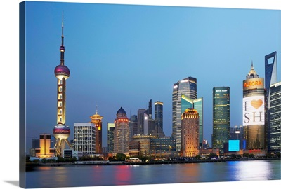 China, Shanghai, Pudong, Skyline with Oriental Pearl Tower and Huangpu River