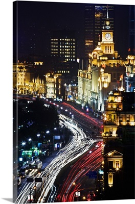 China, Shanghai, View of the Bund from Shanghai Mansions Hotel