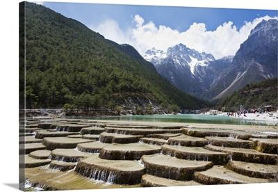 China, Yunnan, Lijiang, Artificial waterfalls in Jade Dragon Snow Mountain National Park