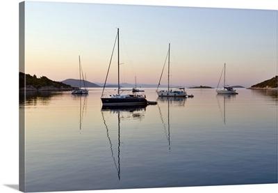 Croatia, Dalmatia, Adriatic sea, Adriatic Coast, Mooring overnight at Tijat island