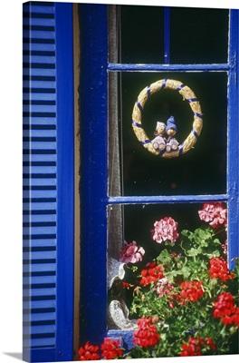 Denmark, Bornholm, Hasle, Scandinavia, decorated window and geranium