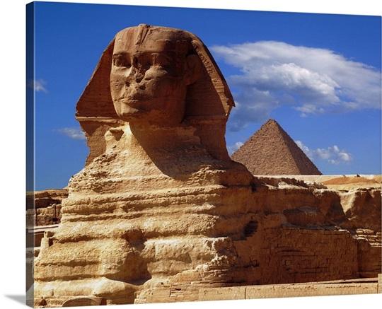 egypt cairo giza sphinx and chefren s pyramid wall art canvas