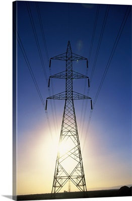 Egypt, North Africa, Electricity pylon near Thebes