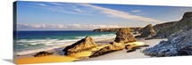 England, Cornwall, Newquay, Iconic rock formations known as the Bedruthan Steps