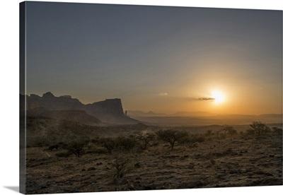 Ethiopia, Tigray, Tigray Mountains at sunset
