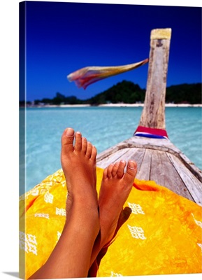 Feet on boat, Koh Phi Phi Don, Andaman sea