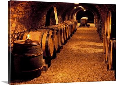 France, Burgundy, Beaune, Cote-d'Or, Couvent des Cordeliers, wine cellar