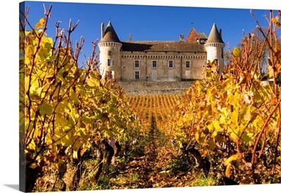 France, Burgundy, Rully, Saone-et-Loire, Rully castle and vineyards